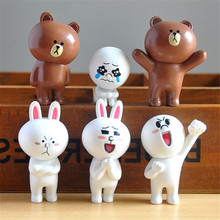 6pcs/lot 3.5-6cm PVC Line Brown Bear Cony Rabbit Moon Friends Action Figure Cute Decoration And Toys For Kids(China)