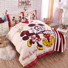 DISNEY Cartoon Bedding Authentic Mickey Mouse Bedding Set 100% Cotton Duvet Cover Sheet Set Single Queen Size Kids Beddings