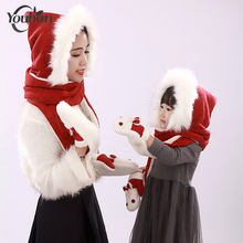 2017 Parental Winter Scarf Hat & Gloves Sets Thicker Solid Bunny Women Children's Hat & Scarf Set Knitted Gloves Christmas Gift(China)