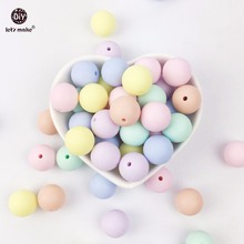 Let's Make silicone bead teether round candy color 200PC 12-20mm Food Grade Materials DIY Crafts baby teether safe rattle beads(China)