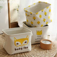 DUNXDECO 1PC Small Nordic Hot Little Prince Smile Emoji Linen Cotton Home Office Storage Basket Table Organize Kid Room Decor