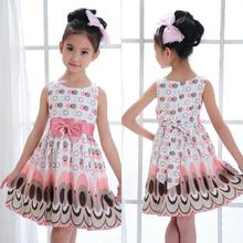 Amazing Summer Style Bow Belt Sleeveless Bubble Peacock Dress Party Clothing New Girls Vestidos 2015 Latest Dress Design for Kid