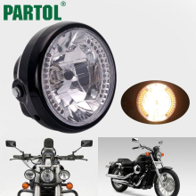 "Partol ABS Chrome 7"" Motorcycle Headlight Reflective Interior Clear PC Lens Crystal Halogen Turn Signals For Choppers Cafe Racer(China)"