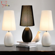 Modern Table Lamps,nordic cloth lampshade metal base Reading Study desk lamps Bedroom Bedside Lights Home deco Lighting fixture