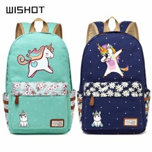 WISHOT  cute unicorn Dab cartoon Backpack For Women Girls Canvas bag Flowers wave point Rucksacks backpack travel Shoulder Bag