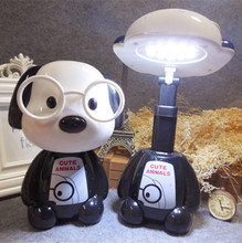 The glass dog bedroom bedside lamp rechargeable mini folding LED cartoon lamp Nightlight creative children's reading