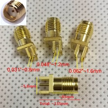 "100Pcs Gold SMA Female Jack Solder PCB Clip Edge Mount RF Adapter Connector 0.062'' or 0.048"" 0.031""(China)"
