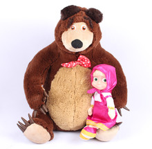 Free Shipping Russian Musical Masha and Bear Anime Toys Brand Educational Dolls For Girls Birthday Christmas New Year Gifts
