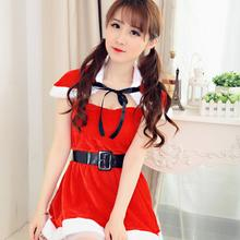 (Dress+ shawl+belt) New Female Christmas Dress Halloween Masquerade Disfraces Uniform Temptation Game Role Play Dance Costumes