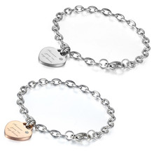 Boniskiss Stainless Steel Forever Love Bracelets For Men And Women Jewelry Heart Couple Bracelets Bangles For Lovers(China)