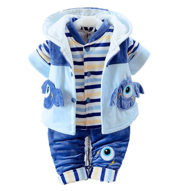 Baby Clothes Flannel Boys Clothes Jumpsuit Girls Thick Warm Rompers Pajamas Plus velvet Coat + Vest+ Pants Kids Infant 3Pcs W137<br>