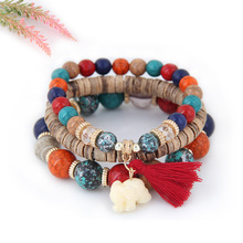 Buy X&P Wooden Beads Bracelets Women Girl Bohemia Elephant Tassel Charm Bracelets & Bangles Set Boho Vintage Jewelry Femme Gift for $3.39 in AliExpress store