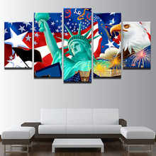 Abstract Home Decor Living Room Pictures Canvas Painting Wall Art Frame 5 Pieces American Flag HD Printed Frames Drop Shipping(China)