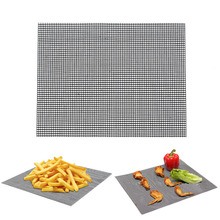 Fashion 1PC 30X40cm Mesh BBQ Mat Churrasco Roaster Non-viscous Barbecue Sheet Kitchen Cooking Tools Home Gadgets Accessories(China)