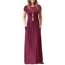 Buy Women Short Sleeve Maxi Dress Casual O Neck Solid Dress Summer Pocket Floor Length Long Dress Women Party Dresses Female for $15.20 in AliExpress store