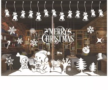 2016 Christmas DIY Wall Stickers New Year Home Decoration Snow Town Window Glass Decorative Wall Decal
