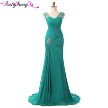 Turquoise Mermaid Chiffon Evening Dresses Lace Up Fashion Vestidos Mujer Red Long Prom Dress Plus Size Robe De Soiree SSX003