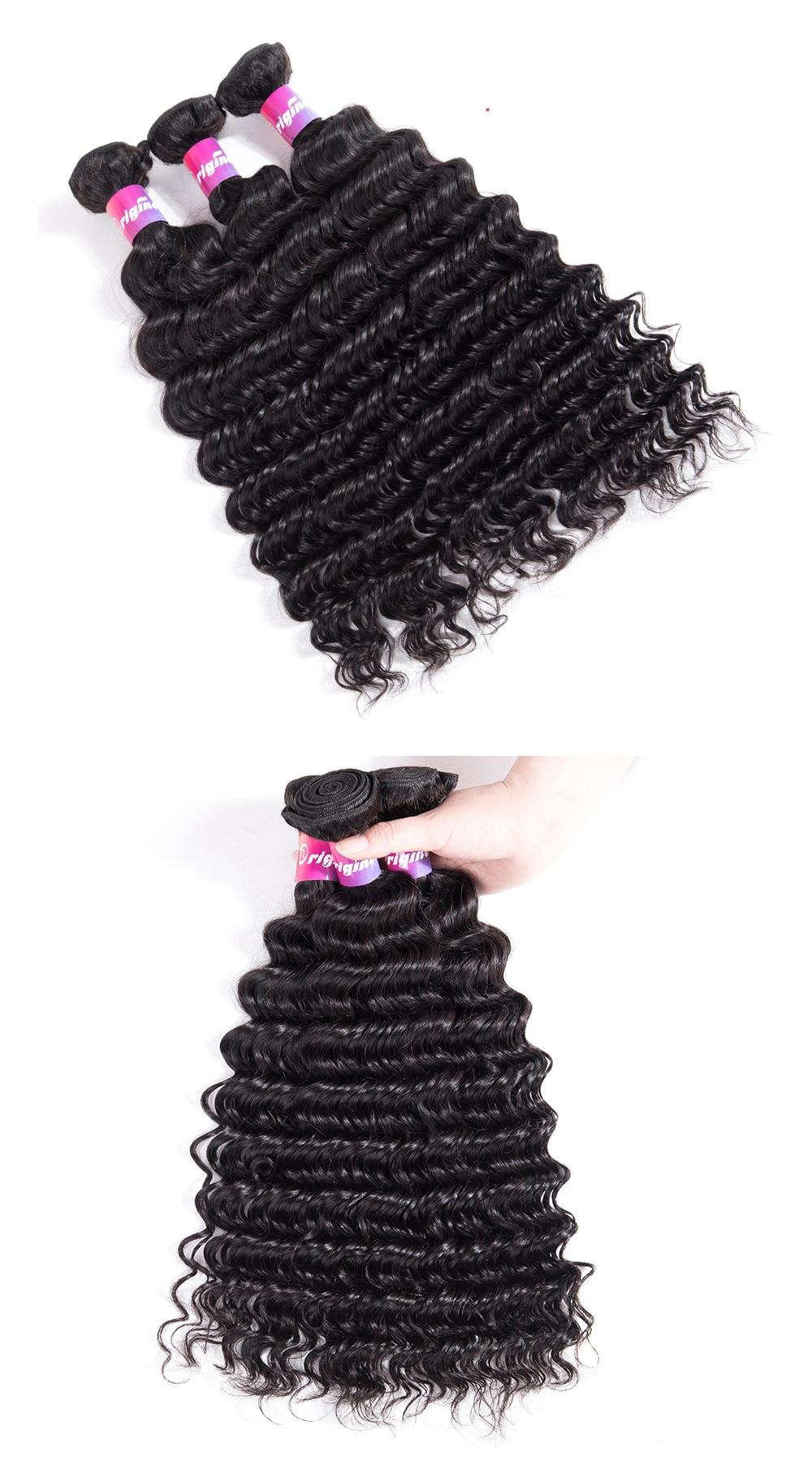 Deep wave human hair deep weave hair hair weave bundles deep wave human hair suppliers Brazilian Deep Wave 3pcs With 13x4Frontal Closure Human Hair Bundles With Frontal Originea Hair Weave