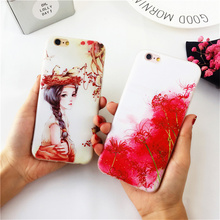 Luxury Girl Flowers Bird's Nest Cases For Coque iPhone 6 6s 6plus 6s Plus 7 7plus Case Capinha Funda Soft TPU Silicone Cover(China)