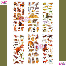 6 Sheets Wildlife Wild Animals Tiger Lion Scrapbooking Kawaii Emoji Reward Kids Toys Bubble Puffy Stickers Factory Direct Sales