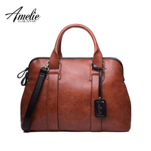AMELIE GALANTI Fashion Women Totes Handbag Casual Top-Handle Bags High Quality PU Vintage Solid Zipper Soft Versatile Pocket(China)