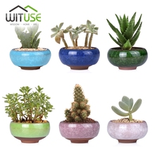 WITUSE Kawaii Flowerpot Chinese Ice-crack Style Ceramics Succulent Planter Pots Tiny Flower Pots Vase For Home Garden Plant(China)