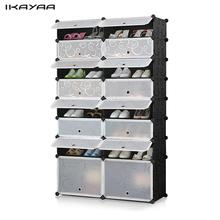 iKayaa US Stock 32 Pairs Cube Plastic Shoes Rack 16 Grids Shoes Storage Cabinet Organizer Waterproof Cloth Closet