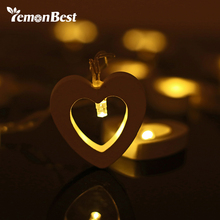 10 LED Warm Wooden Heart Shape String Fairy Lamp For Xmas Wedding Decoration Christmas Lights Party Valentine's Day Decoration