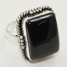 Black Onyx  Ring  Silver Overlay over Copper , Size: 8,  R0680