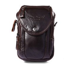 Genuine Leather Mulit-function Casual Travel Bag Men's Shoulder Messenger Bag Waist Belt Pack Hook Punch Cell Phone Cover Case(China)