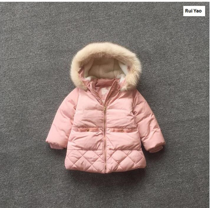 YJYX85 2017 New Winter Baby Girl Jacket Hooded Solid Fleece With Bow Print Girl Coat Worm Girl Outerwear Kids Clothes Lolita<br>