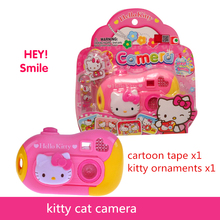 Toy Cameras  ABS Cute pink  camera 18*4*18CM Baby toy cameras good quality tell story change pictures good gift for kids kitty