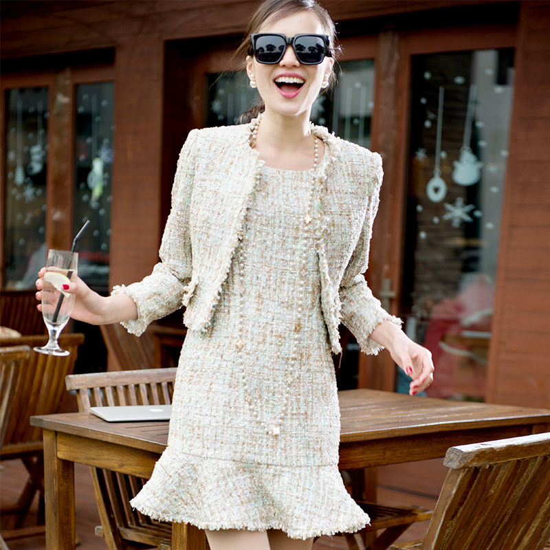 Apricot color tweed jacket +dress sleeveless suit spring / autumn women's jacket fresh striped o-neck ladies 2 pieces skirt suit