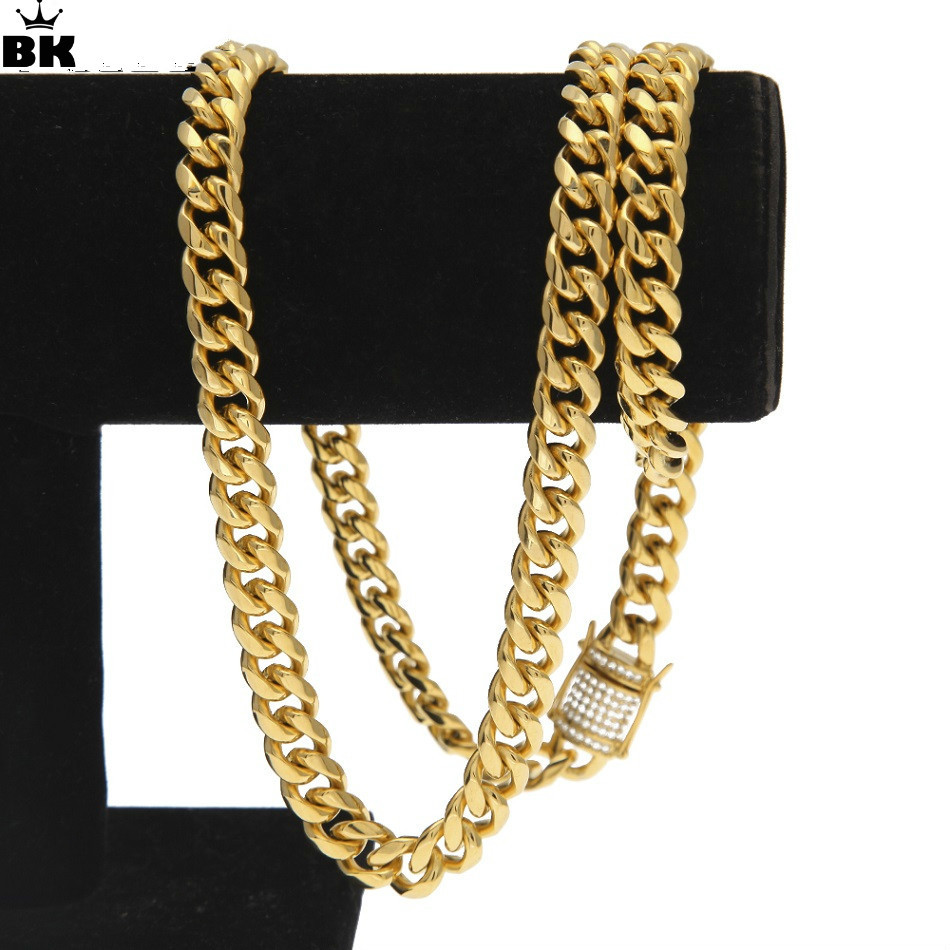 10mm Gold Filled Curb Cuban Chain Men Hip Hop Stainless Steel Iced Out Rhinestone Link Miami Chain 75cm Long Chain Drop Shipping