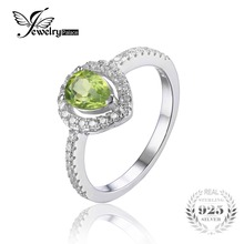 JewelryPalace Pear 0.8ct Natural Peridot 925 Sterling Silver Ring For Women Inlay High Quality Cubic Zirconia Gemstone Jewelry
