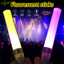 Party Lights LED Light Stick 2 Pack Set 15 Colors Dimmer Flash Fluorescent Light 200Lm Colorful Glow Sticks with 3 AAA Batteries(China)