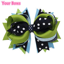 1PC 5Inches Navy Blue Turquoise Polka Dot Girls Hair Bows Hair Clips Bows Headband For Girls Cute Hairpin Hair Accessories(China)