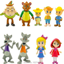 9pcs/set Goldie and Bear PVC Action Figures Little Red Riding Hood Pigs Wolf Dolls Anime Figurines Kids Toys for Boys Girls