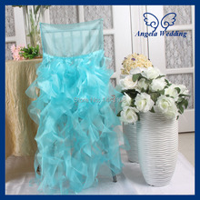 CH007G wholesale gorgeous  fancy double ruffles curly willow organza light blue chair cover