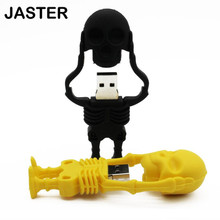 Free shipping skeleton USB flash drive pendrive 4GB 8GB 16GB 32GB 100% real capacity cool skull memory stick U disk pen drive(China)