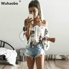 Buy Wuhaobo Floral print chiffon blouse women tops shoulder halter cool long sleeve female blouse shirt Sexy loose white blusas