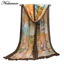 Neelamvar new spring and autumn winter women georgette silk scarf soft brand scarves girls' foulard pareo and shawl Cachecol(China)