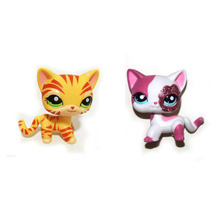 Pet Shop Orange Striped & Sparkle Pink Short Hair Cat Figure Toy FREE SHIPPING(China)