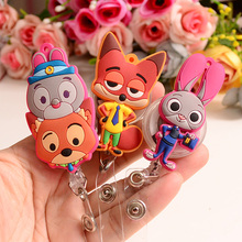 1pcs Cute cartoon Retractable Badge Reel Student Nurse Exhibition ID Name Card Badge Holder Office Supplies(China)