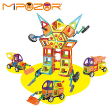 MIPOZOR 75-78Pcs 2017 New Magnetic Designer Building Blocks Kids Educational Toys Engineering Vehicles Series Robot 3D Bricks(China)