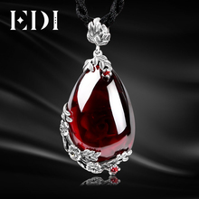 EDI Retro Royal Garnet Gemstone 100% 925 Sterling Silver Natural Chalcedony Pendant Necklace Female Fine Jewelry(China)