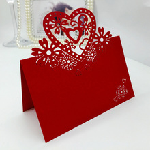 100pcs/lot Red Place Cards Escort Mark Table DIY Heart Festival Event Wedding Party Decoration Paper Glass Name Place Card(China)