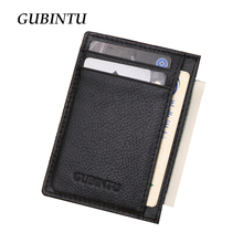 Gubintu Genuine Leather Men Slim Front Pocket Card Case Credit Super Thin Fashion Card Holder trave wallet tarjetero hombre(China)