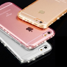 Bling Case for iphone 6S 6 Plus iphone 7 plus 5 5s SE Rhinestone Transparent Silicon Clear Cover for iphone 8 Plus iphone X Case(China)