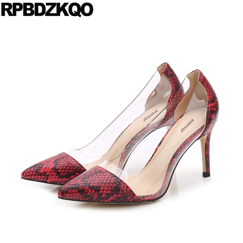 2017 Size 4 34 3 Inch Sexy Women Ladies High Heels Shoes Ultra Snakeskin Pointed Toe Pumps Transparent Special Stiletto Red<br>
